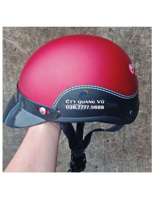 Mũ bảo hiểm nửa đầu giả da đen Đỏ Đô
