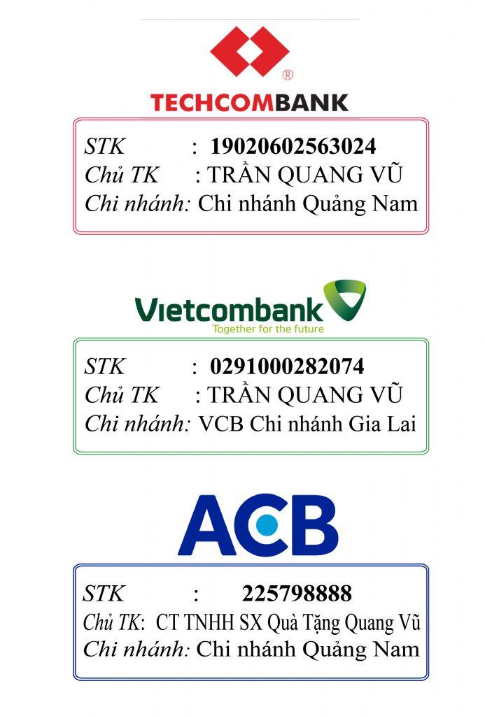 Thanh toán qua các thẻ chính thức của công ty